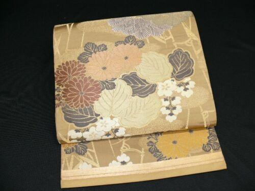 Antique Khaki & Gold Silk Japanese MARU OBI w/KIKU, Pine H676