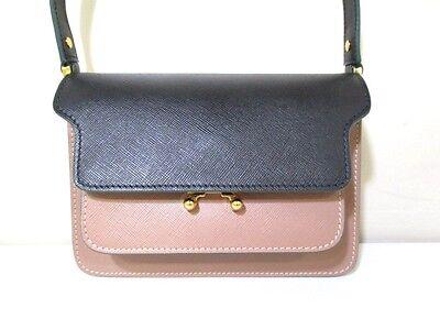 Authentic MARNI Black Pink-Beige Mini Trunk Leather Shoulder Bag