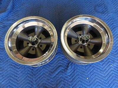 VINTAGE PAIR OF REAL ET S-1 5 SPOKE TORQUE THRUST STYLE 14X6 4 3/4 CHEVY HOT ROD