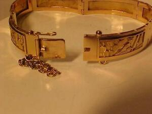 "#3107-HAND CRAFTED 18K Gold 1 of  A KIND BRACELET-7"" LONG-19.1 gms-**A STORY IS TOLD** IN PICTURES-LAYAWAY AVAILABLE"