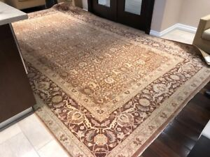 Brown/Beige Area Rug - Hand knotted woolen 15.9 ft x 9 ft