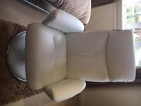 Brand new Harveys reclining white leather effect chair with matching footstool