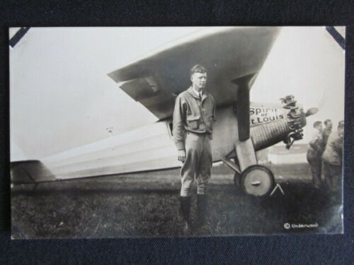 1927 CHARLES LINDBERGH & Spirit of St. Louis UNDERWOOD Original Real Photo