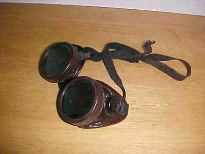 Vintage Willson Welding Goggles Safety Glasses - Brown Wdark Green Lens