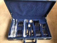 Gorgeous 24 piece Suissine Gold Plated cutlery in case