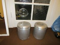2 X ALUMINIUM FOOD CONTAINERS FOR KITCHEN STORAGE, USED NON RUSTING