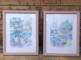 2 Coordinating Framed Original Water Colour and Pencil Prints. Signed by artist - Meri Marten