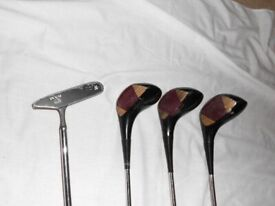 Classic Nicoll 'Henry Cotton' woods and Ram putter
