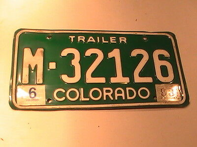 1993 Vintage Colorado CO Trailer Green Mountains License Plate Tag Auto