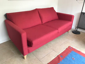 Nearly new John Lewis sofa (Bailey Large 3 Seater Sofa, Light Leg, Hayden Red)