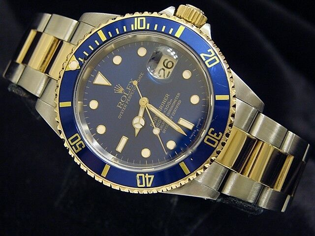 Rolex Submariner Date 2tone 18k Yellow Gold Stainless Steel Blue Sub Sel 16613