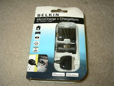new Belkin MicroCharge ChargeSync Kit for iPod iPhone micro charge charger sync (Belkin Micro Charger Kit For Ipod Iphone)