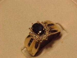 #536-10K YELLOW GOLD SAPPHIRE/DIAMOND DRESS RING SIZE 6