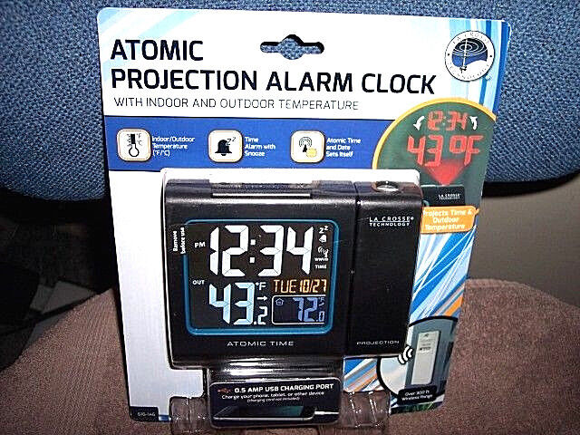 Atomic Projection Alarm Clock Indoor Outdoor Temperature Sensor La Crosse Clock