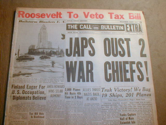 1944 WW II hdlne newspaper JAPAN leader who planned ATTACK ON PEARL HARBOR fired
