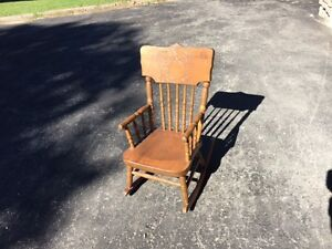 MOVING SALE  ANTIQUE CHILDS PRESS BACK ROCKING CHAIR