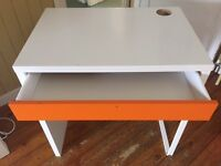 Computer Desk - White/Orange
