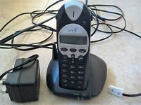 BT CORDLESS PHONE WITH STAND AND MAIN UNIT POWER SUPPLY WITH PHONE POINT ATTACHMENT