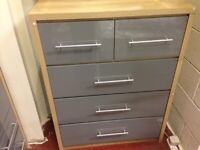 AVAILABLE NOW High gloss NEW grey 3+2 chest of drawers SALE £125