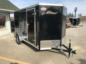 2018 Haulin 6x12 Enclosed Cargo Trailer Ramp Door Black