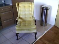 Vintage American-made Harden Furniture Carved Wood Frame Wing Arm Chair
