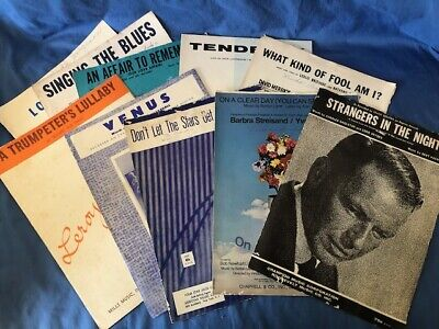 Lot Of 10 Vintage Sheet Music Pieces / Piano, Trumpet, Vocal / Mid-Century Trumpet Piano Music