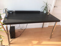 Black wood Tornliden table top and silver legs