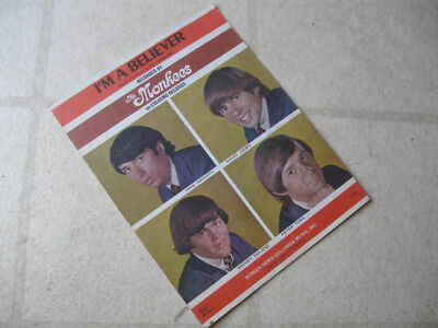 """MONKEES 1966 """"I'm A Believer"""" ORGNL US FULL-COLOR COVER SHEET MUSIC GORGEOUS NM"""