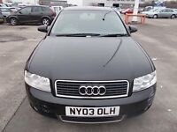 AUDI A4 1.8 T 163SP SALOON 03 REG,, FULL SERVICE HISTORY,, MOT MAY 2017