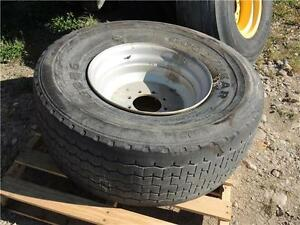 425/65R22.5 Goodyear tire & rim from a Leon 425 Spreader