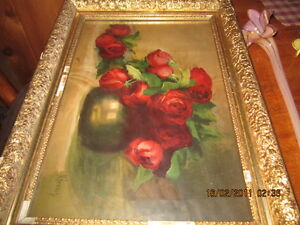 very old painting with plaster  frame