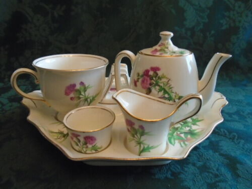 Royal Winton Scotch Thistle Breakfast Set Teapot Teacup Creamer Sugar Tray Toast