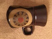 Large Coffee Mug Cup Denby Arabesque China Crockery Discontinued Brown Vintage Pattern
