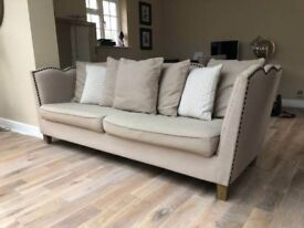Beautiful designer neutral linen sofa in excellent condition