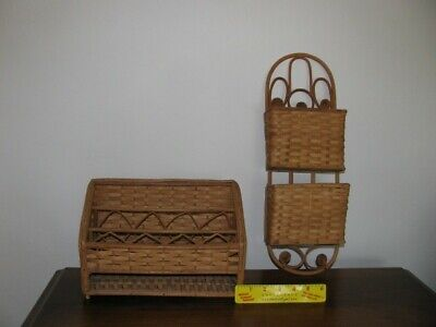 Lot Of 2 Vintage Wicker Office Organizers One Hanging Hookdesk Supplies Mail