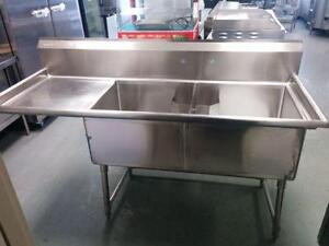 Stainless Steel 24 x 24 Double Sink With Drainboard! Brand New!