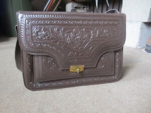 Peruvian hand-tooled leather purse