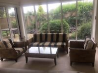 Stunning Bamboo Conservatory Furniture Set. Two chairs, sofa, side table and coffee table.