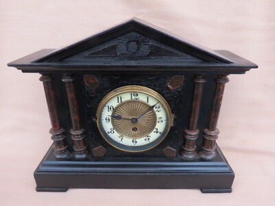 ANTIQUE FH & S GERMAN ARCHITECTURAL WOODEN CLOCK