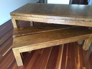 Wood dining table set with benches - mango hardwood Mosman Mosman Area Preview