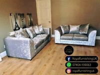 == ROYAL FURNISHING'S BRAND NEW BYRON CRUSHED VELVET CORNER OR 3+2 SOFA SET ==