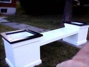 raised planter box with bench