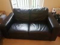 Black Ikea Leather Sofa (2 Seater)