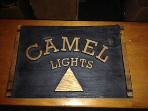 "Vintage Camel Light Wood Sign 14"" x 9.5"""