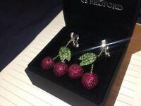 Handmade Cherry Earrings Real Diamonds Rubies Green Garnet Solid 18k White Gold Weighs 23.5 Grammes