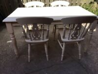PINE FARMHOUSE DINING KITCHEN TABLE 5FT X 3FT WITH 4 CHAIRS 2 DRAWERS
