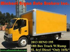 2013 HINO 195 - 18FT BOX TRUCK W/ RAMP *ONLY 165K* GREAT PRICE