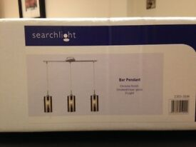 Search Light 3 Bar Chrome finish smoked/clear glass 3 ligths
