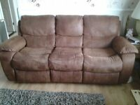 3 seater faux suede sofa / recliner