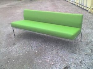 Mid Century Modern Style Wedge Back Couch w Chrome Frame